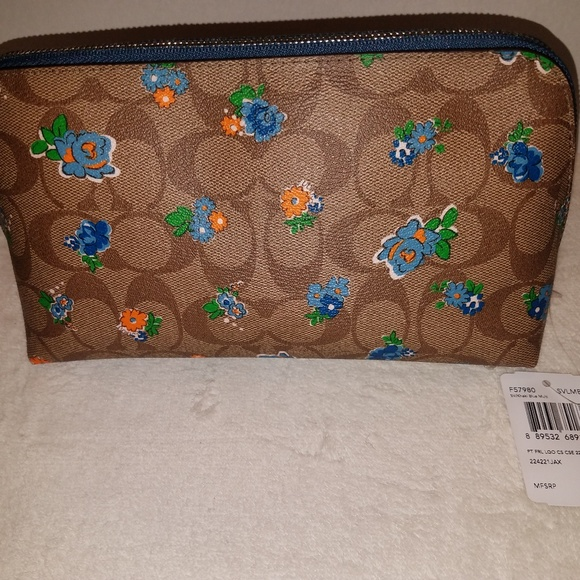 Coach Handbags - COACH Large Cosmetic Case 22 Khaki Floral NEW